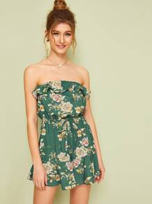 Floral Print Ruffle Knot Front Bandeau Romper