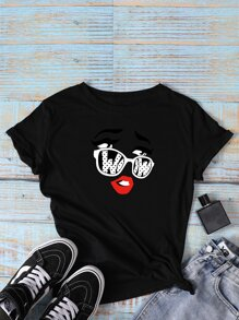 Lip & Glasses Print Tee