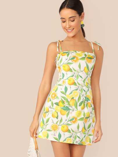 face2ad4a Zip Side Knot Shoulder Fruit Print Slip Dress out of