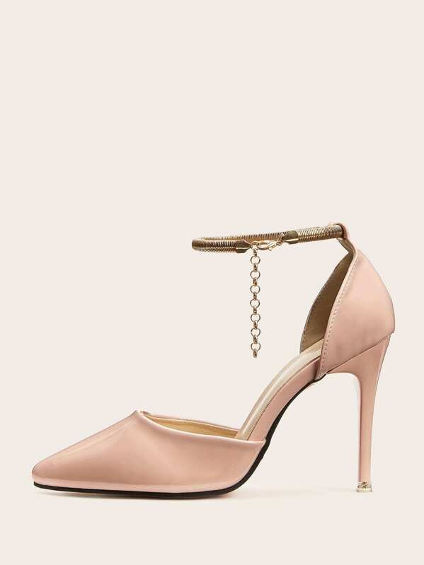 Point Heels Toe Chain Strap Ankle Stiletto W2Ie9DHYE