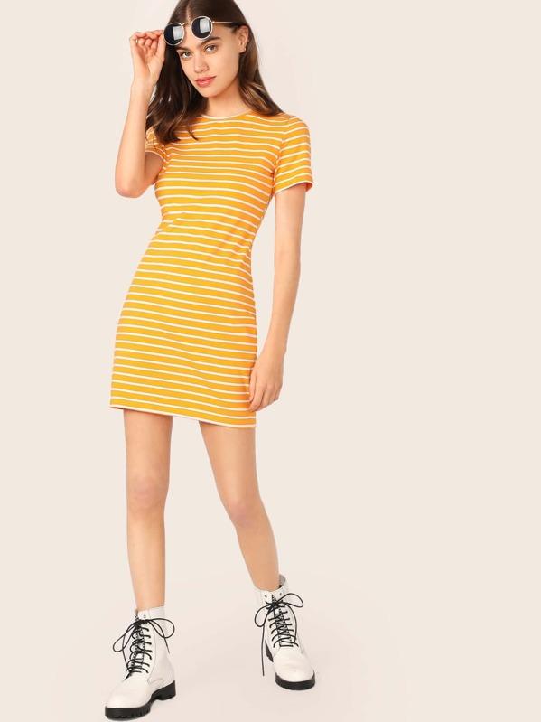 6ee9a30514 Short Sleeve Striped Dress | SHEIN