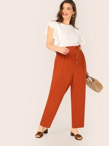 Plus Neon Orange Button Fly Ruffle Waist Pants