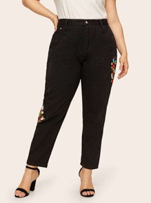 Plus Button Waist Floral Embroidered Jeans