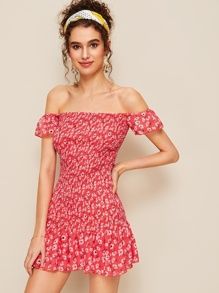 Ditsy Floral Shirred Off Shoulder Dress