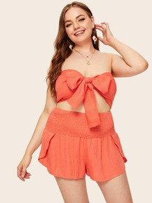 Plus Shirred Tie Front Tube Top With Shorts
