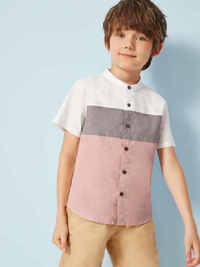 Boys Stand Collar Cut And Sew Shirt