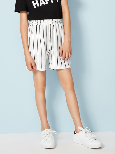 Boys Drawstring Waist Slant Pocket Striped Shorts