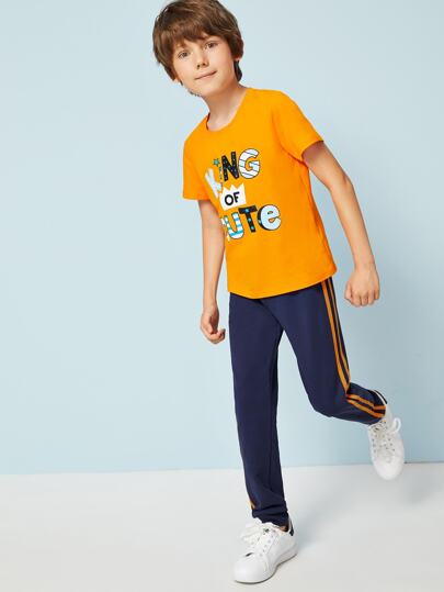 Boys Neon Orange Slogan Tee and Striped Sweatpants Set