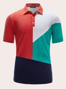 Men Colorblock Polo Shirt