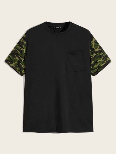 Men Camo Sleeve Pocket Patched Tee