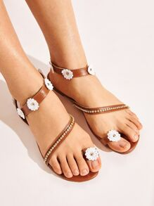 Floral Decor Toe Ring Sandals