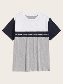 Men Colorblock Letter Taped Tee