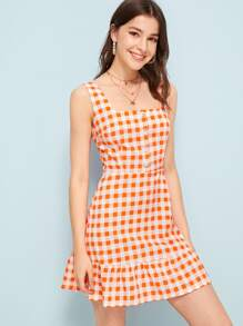 Button Front Gingham Cami Dress