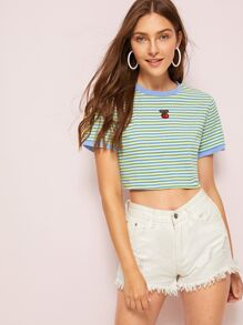 Cherry Patched Stripe Ringer Tee