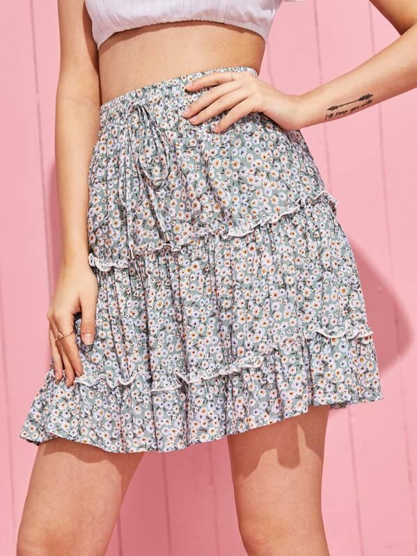 70fbbb9195 Ditsy Floral Print Drawstring Waist Frill Trim Skirt | SHEIN UK