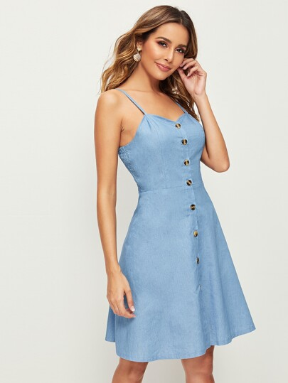 80915fbd Button Front Shirred Back Denim Cami Dress out of