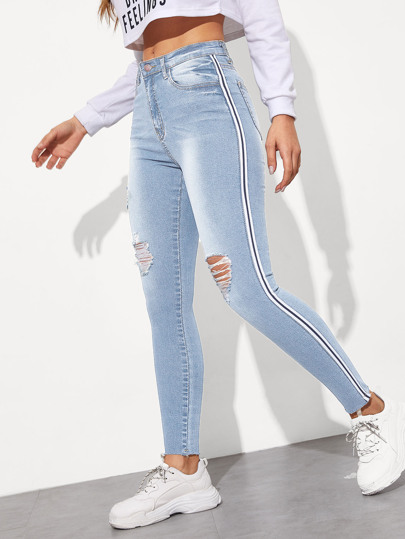 Side Striped Ripped Wash Jeans