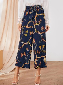 Chain Print Belted Wide Leg Pants