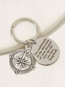 Round Shaped Slogan Pattern Keychain