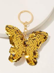 Sequin Decor Butterfly Shaped Keychain
