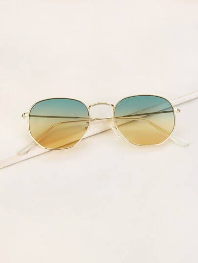5115391287 Metal Frame Ombre Tinted Lens Sunglasses