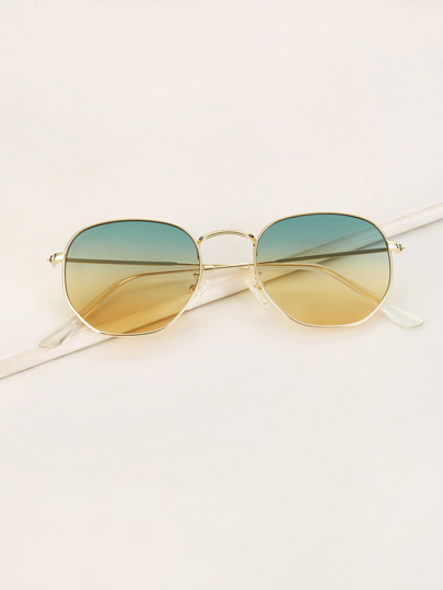 40d65677c27fe Metal Frame Ombre Tinted Lens Sunglasses
