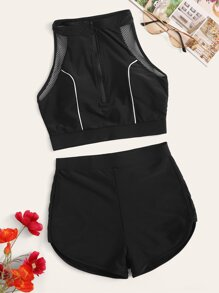 Zipper-up Racerback Top With Shorts 2 Piece Swimsuit