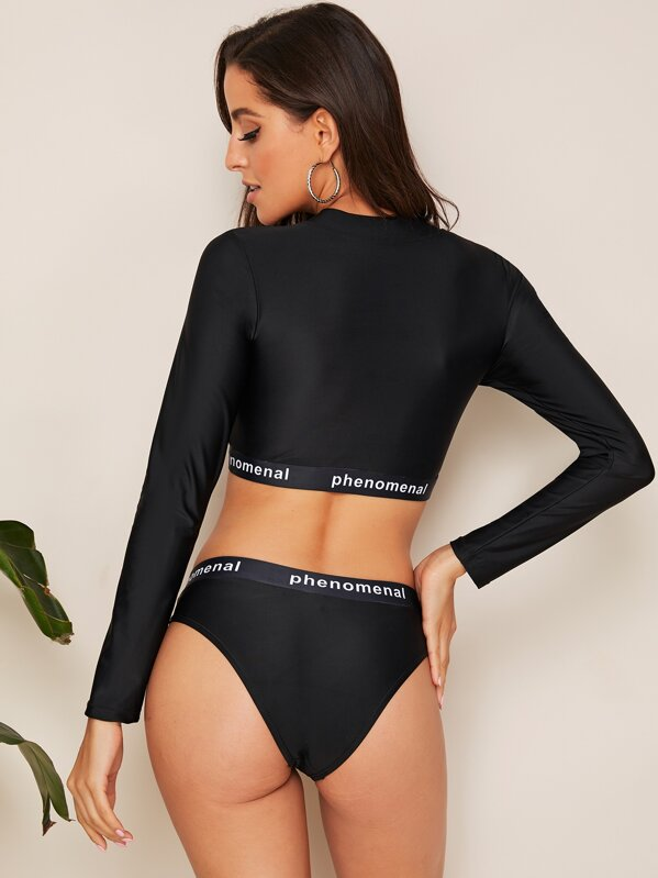 5ff4a6e611 Long Sleeve Letter Tape Trim 2 Piece Swimsuit | SHEIN