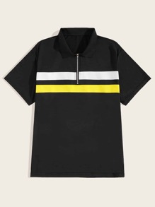Men Quarter Zip Contrast Panel Polo Shirt