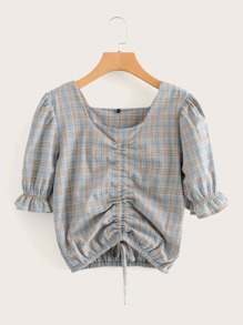 Drawstring Front Ruched Plaid Blouse