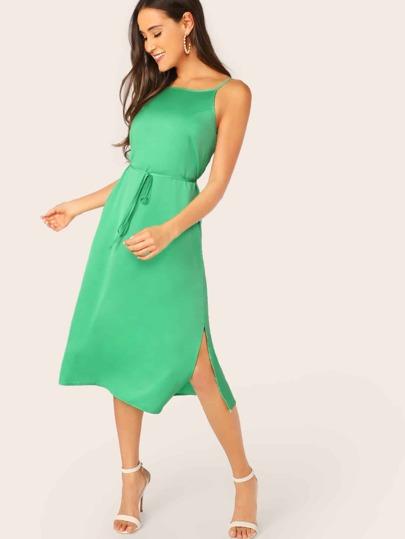 001987d51979 Low Back Split Side Self Belted Satin Dress