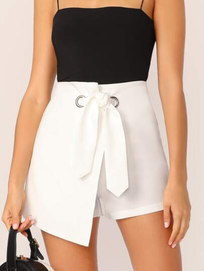 O-ring Belted Asymmetrical Wrap Shorts