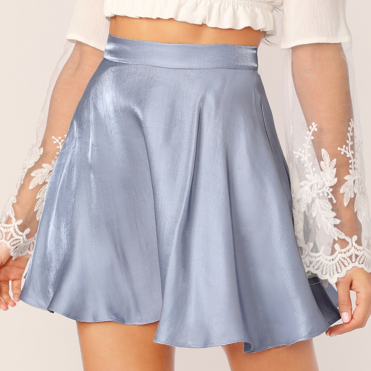 SHEIN coupon: Solid Satin Skater Skirt