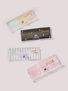 Clear Letter Print Glasses Case 1pc