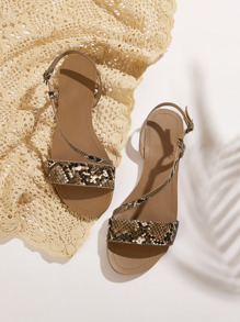 Snakeskin Print Open Toe Sandals
