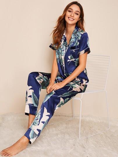 49d2efdc9 Tropical Print Satin Pajama Set