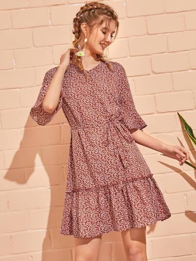 762d1384c5d Ditsy Floral Flounce Sleeve Ruffle Hem Belted Dress