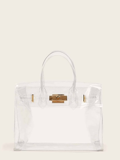 Metal Buckle Clear Satchel Bag