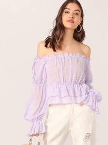 Off Shoulder Frill Trim Swiss Dot Peplum Top