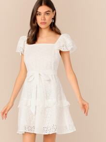 Ruffle Trim Schiffy Dress With Belt
