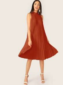 Mock-neck Tie Back Pleated Swing Dress