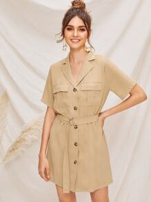 Notched Collar Flap Pocket Belted Utility Dress