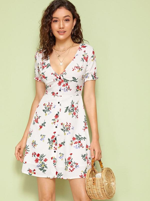 be6bc1f79e Deep V Neck Button Front Floral Print Tea Dress