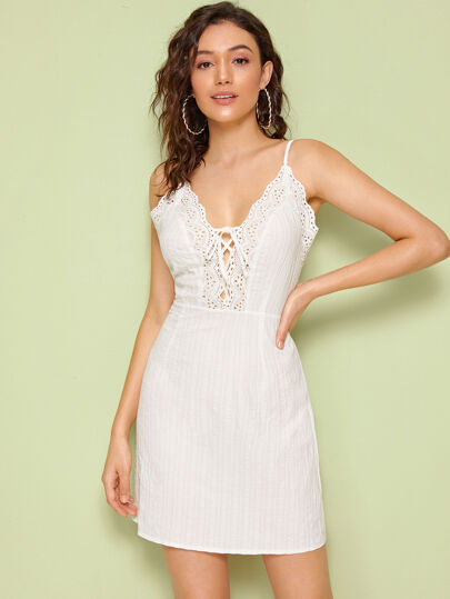 Eyelet Embroidered Lace Up Front Textured Slip Dress