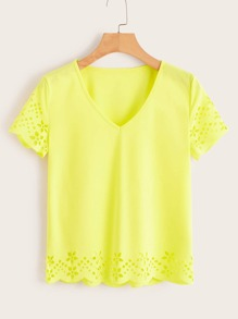 Neon Yellow V Neck Laser Cut Scallop Hem Tee