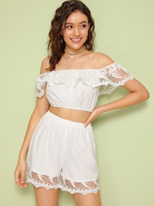 Off Shoulder Embroidered Mesh Detail Top & Shorts Set