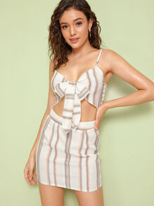 Tie Front Striped Crop Cami Top & Skinny Skirt Set