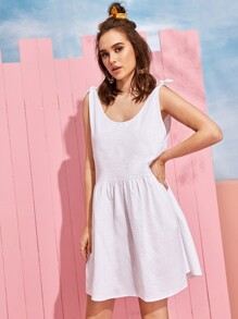 Knot Solid Babydoll Dress