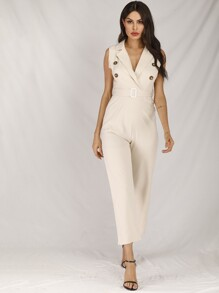 Double Breasted Belted Jumpsuit
