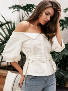 Simplee Solid Button Front Bardot Belted Shirt